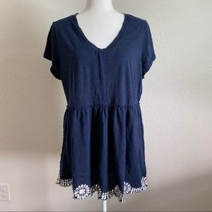 A:glow navy blue maternity top empire waist